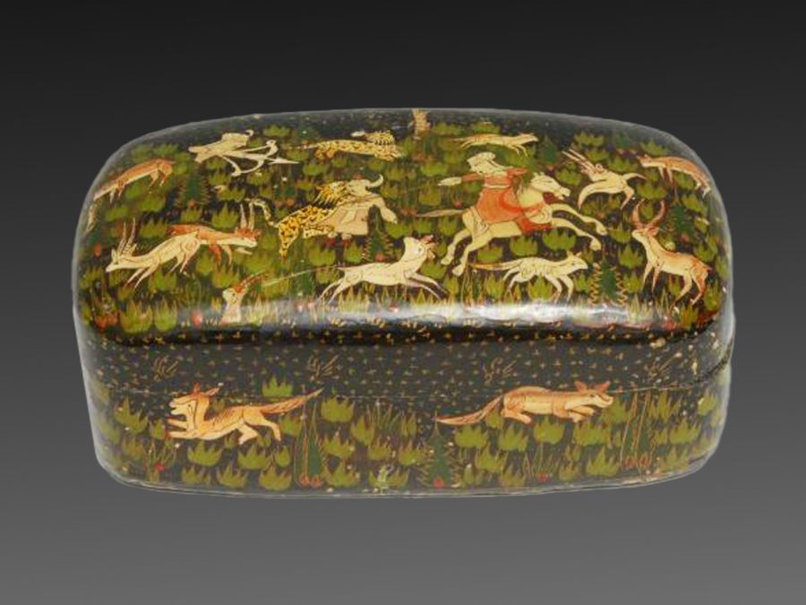 An Indian papier mache Pen Box & Cover Painted With Hunting Scenes In Persian Taste - Image 2 of 2