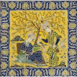A 19th Century Persia Framed Panel With Figural Scenes With 9 Tiles