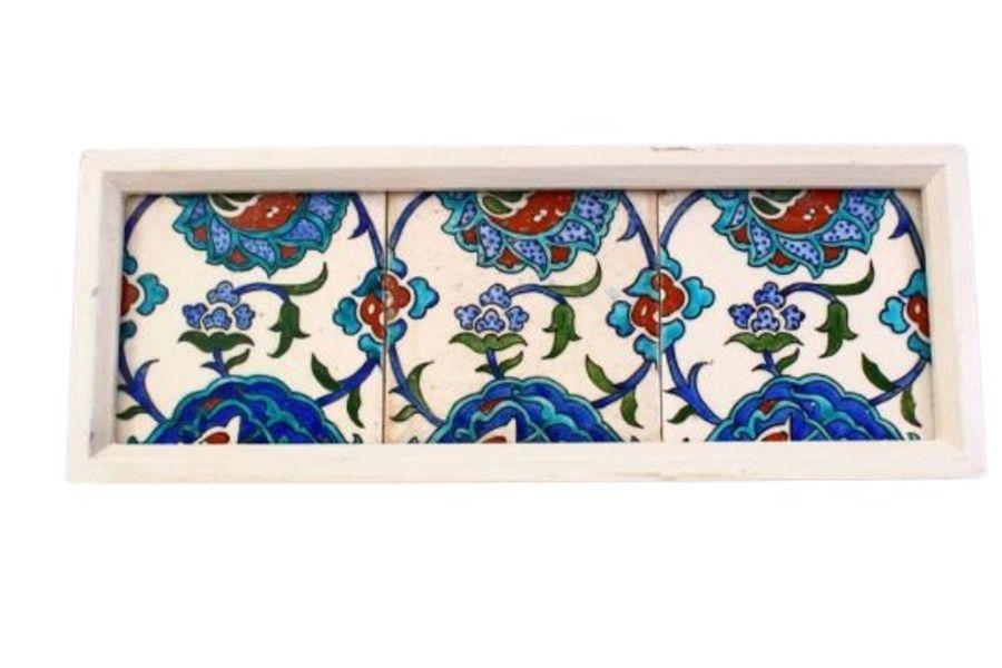 Three Framed Turkish Ottoman Iznik Pottery Tiles With Floral Patterns