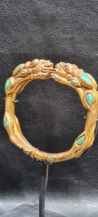 Chinese Tibetan Gold Gilt Dragon Bangle With Semi Precious Stones - Image 6 of 7