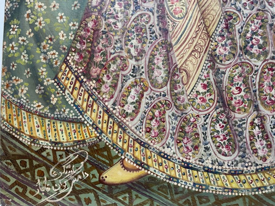 Large Hand painted late 20th century pictures of court dancers in the style of Qajar - Image 6 of 10