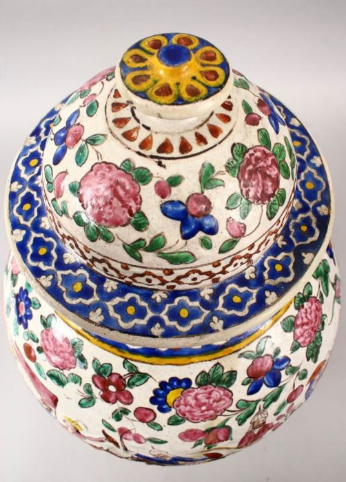 Large 18th Century Zandiyeh Pottery JAR & cover - Image 6 of 6