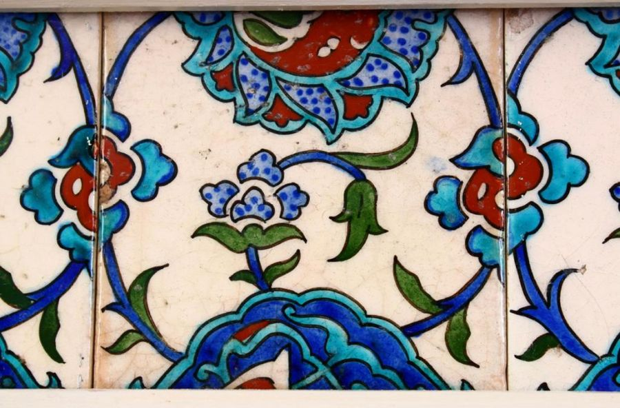 Three Framed Turkish Ottoman Iznik Pottery Tiles With Floral Patterns - Image 3 of 3