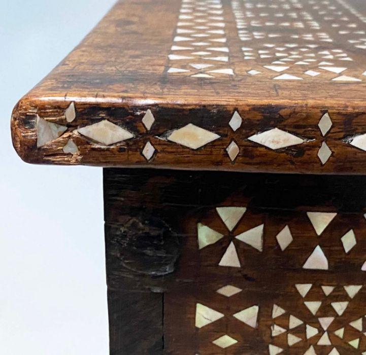 18TH CENTURY INDO PORTGUESE MICROMOSAIC INLAID TABLE CABINET TRUNK - Image 3 of 7