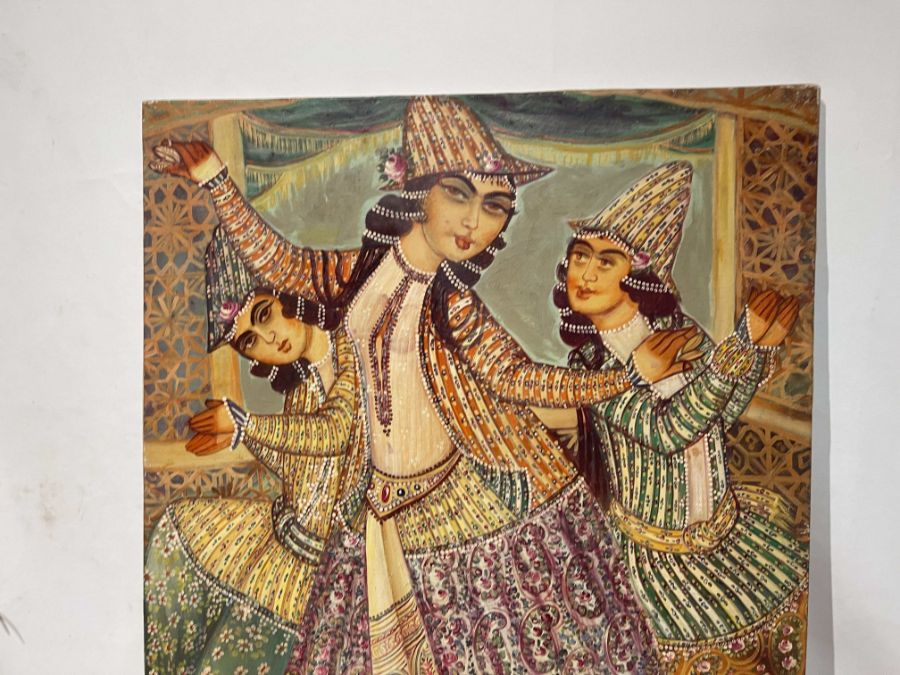 Large Hand painted late 20th century pictures of court dancers in the style of Qajar - Image 8 of 10