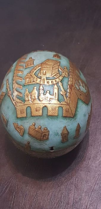 19th Century Indian Ostrich Egg Painted With Scenes Mecca Gold Gilt - Image 4 of 5