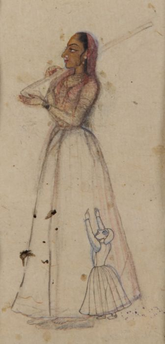 A INDIAN MINIATURE DEPICTING A LADY