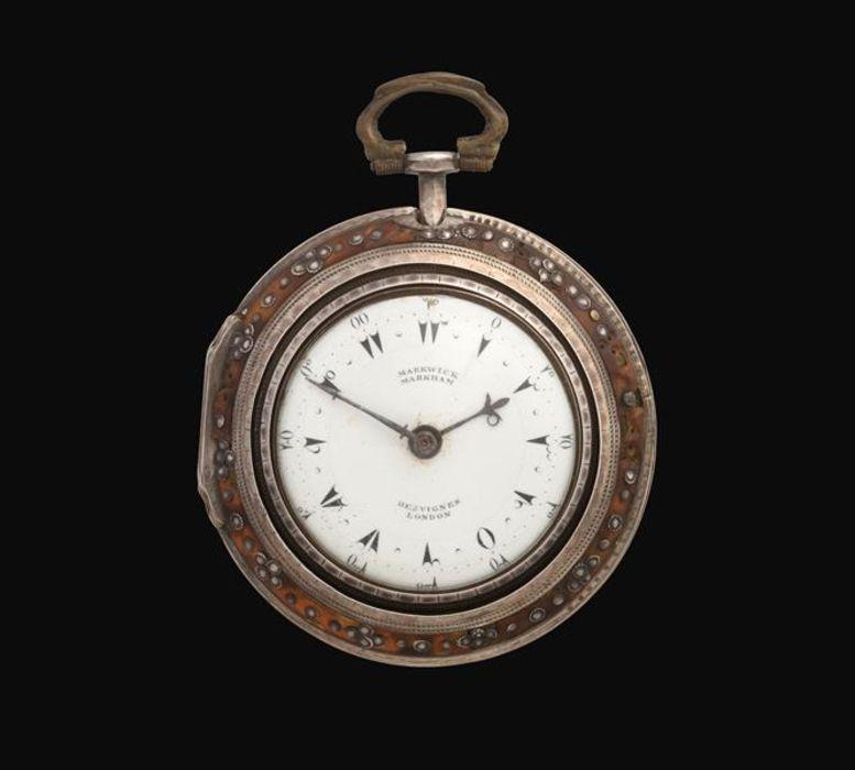 A Silver Tortoiseshell Triple Cased Verge Turkish Pocket Watch