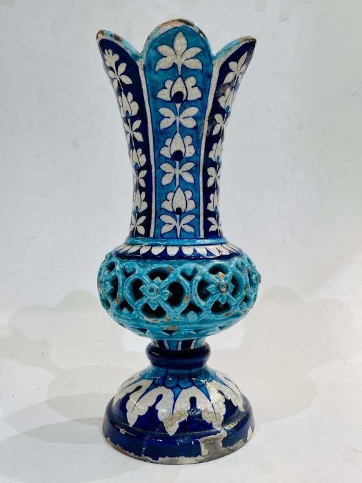 Multan Pottery Vase 19th Century Decorated In Shades Of Blue Iznik Style - Image 5 of 7