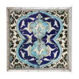 Ottoman Ceramic Glazed Tiles In Cobalt Blue