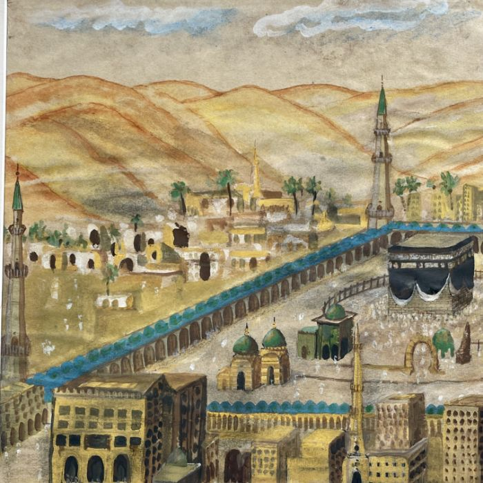 19th Century Ottoman Watercolour Painting Depicting Mecca - Image 3 of 4