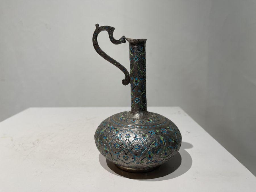 Persian Silver Unusual Enamelled Jug - Image 7 of 7