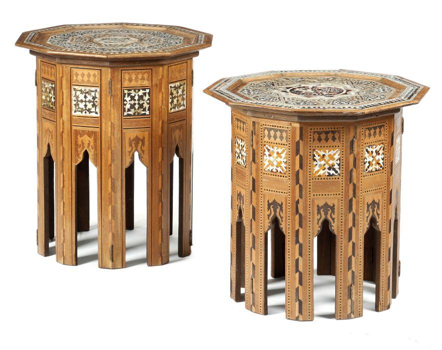 TWO MOORISH WALNUT DECAGONAL OCCASIONAL TABLES