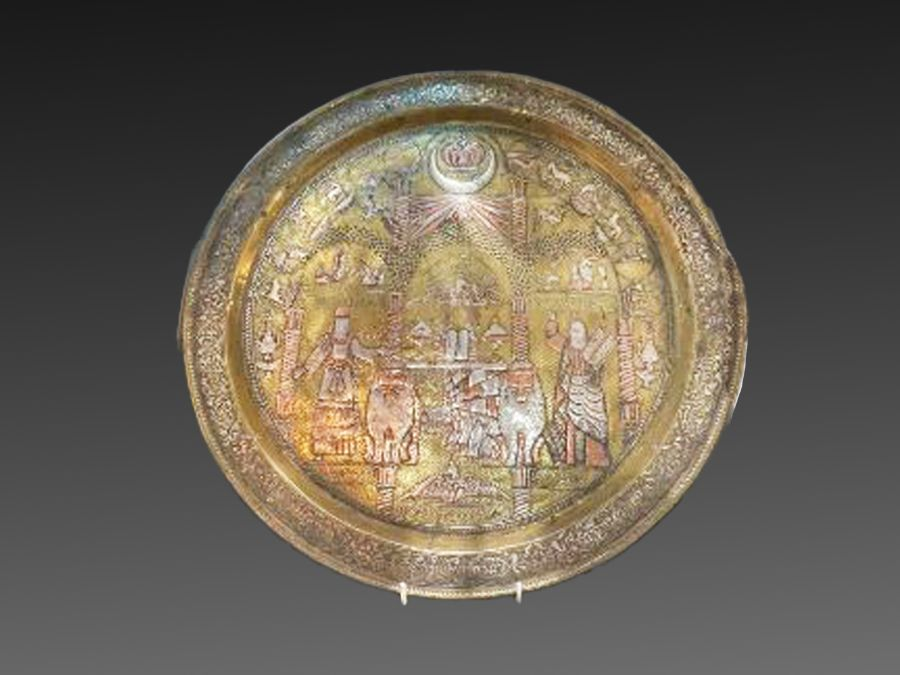 """important Islamic 19th century Silver Inlay Gilt Platter Story Of """"Moses and Aaron"""" - Image 13 of 13"""