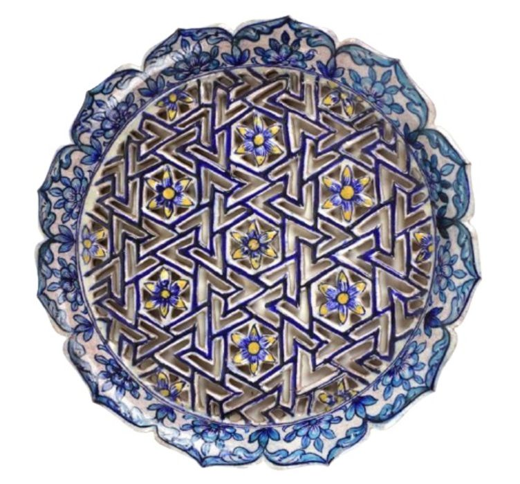 19th Century Turkish Iznik Style Earthenware Cobalt Glazed Reticulated Platter