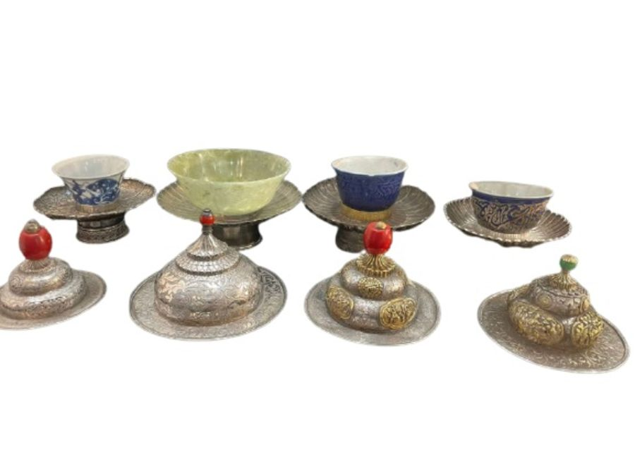 Early Chinese Tibetan Silver Dishes Golden & Silver Inlay