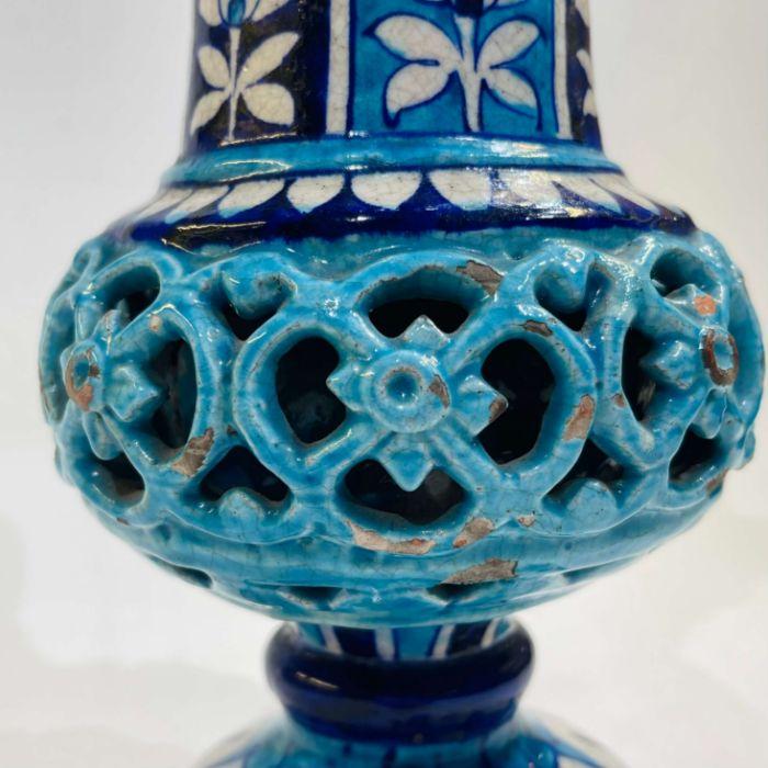 Multan Pottery Vase 19th Century Decorated In Shades Of Blue Iznik Style - Image 7 of 7