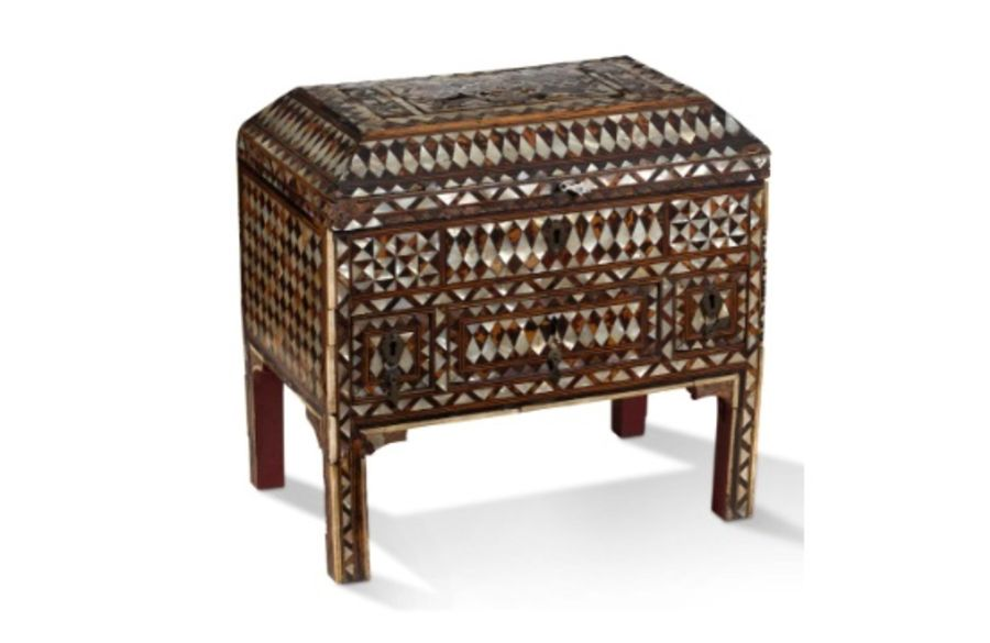 LARGE rectangular wooden CHEST entirely inlaid with tortoiseshell and mother-of-pearl.