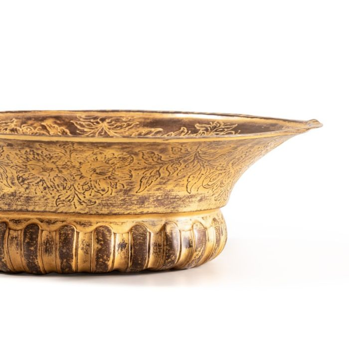 An Ottoman gilt-copper (tombak) lidded ewer, with associated basin and filter, Turkey, 18th century - Image 5 of 7