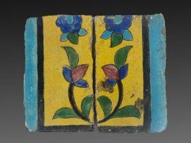 Pair of Qajar period Floral Tiles
