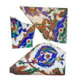 18th/19th Century Ottoman Iznik Possibly Kuthaya Tile Fragments