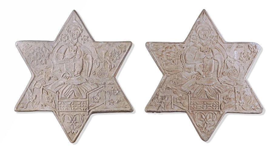 TWO UNGLAZED POTTERY STAR TILES, GHAZNAVID PERIOD, 12TH-13TH CENTURY - Image 2 of 4