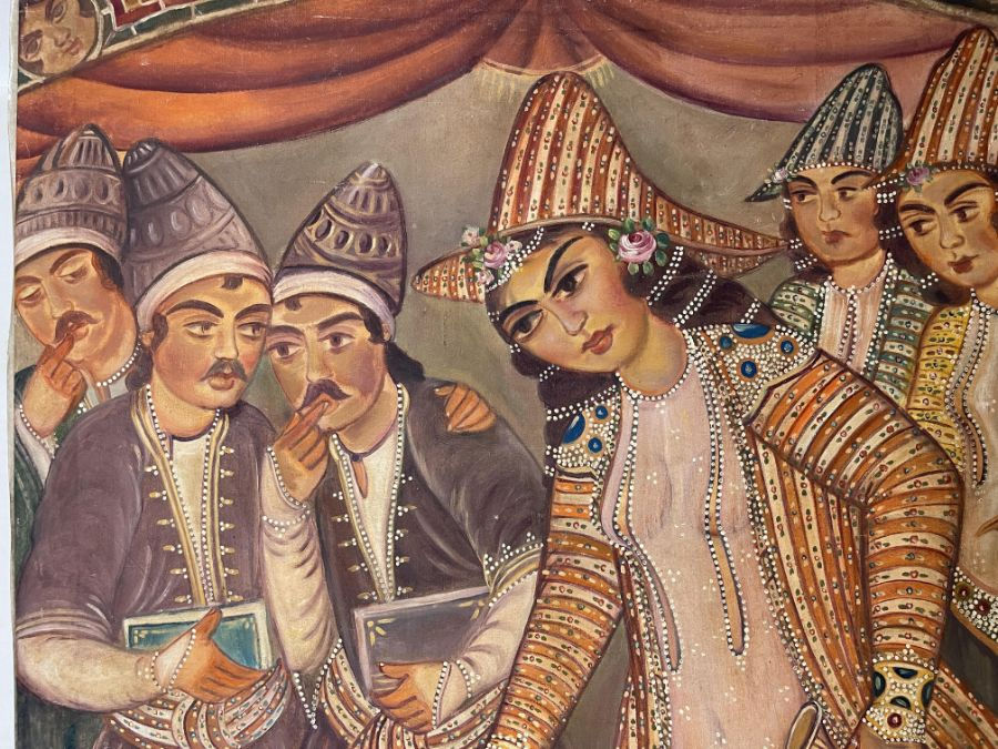 Large Hand painted late 20th century pictures of court dancers in the style of Qajar - Image 2 of 8