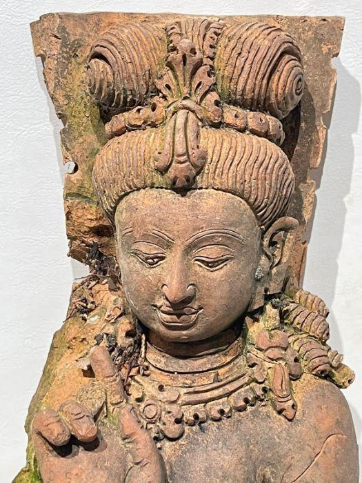 Large Indian Terracotta Buddha Figure Plaque - Image 10 of 10