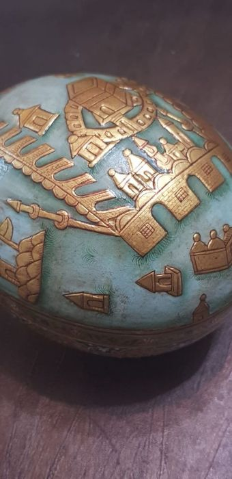 19th Century Indian Ostrich Egg Painted With Scenes Mecca Gold Gilt - Image 2 of 5