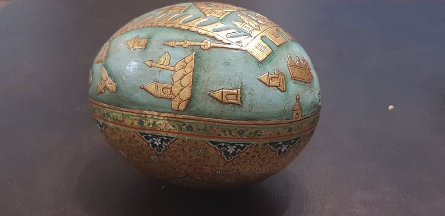 19th Century Indian Ostrich Egg Painted With Scenes Mecca Gold Gilt - Image 3 of 5