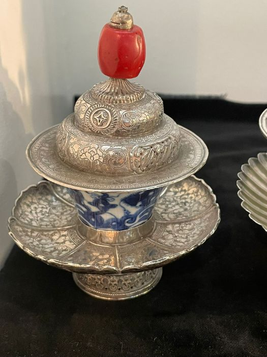 Early Chinese Tibetan Silver Dishes Golden & Silver Inlay - Image 2 of 16