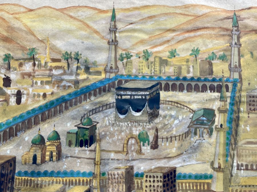 19th Century Ottoman Watercolour Painting Depicting Mecca - Image 4 of 4