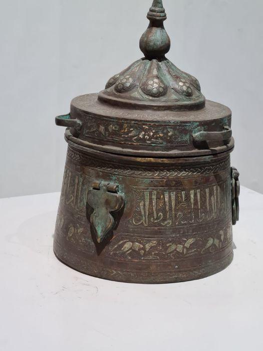 Islamic Bronze & Silver Inlay Jewellery Box - Image 6 of 7