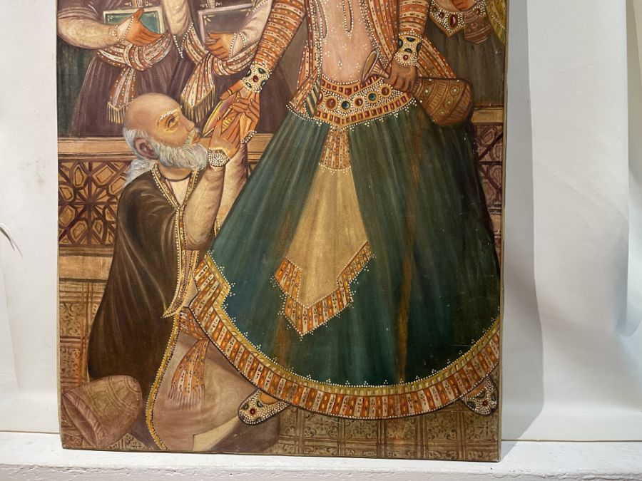Large Hand painted late 20th century pictures of court dancers in the style of Qajar - Image 5 of 8