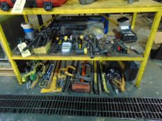 LOT CONSISTING OF: hand tools, gloves & electric extension cords, assorted (under three benches)