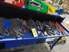 LOT OF CHAINS, assorted (on one bench)