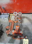 LOT OF PIPE THREADING DIES, RIDGID, w/pipe vise, pipe cutter & flaring tool