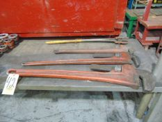 """LOT OF PIPE WRENCHES (4): 60"""", 48"""", 36"""", assorted"""