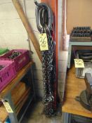 LOT CONSISTING OF: (3) lifting chains & (1) cable sling, assorted (on hook)