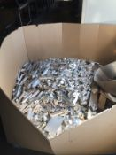LOT CONSISTING OF: aluminum pieces & shavings, assorted (one box & one drum)