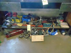 LOT OF HAND TOOLS & MISC., assorted (under one bench)