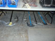 LOT OF CONDUIT BENDERS, assorted (under one bench)