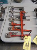 LOT CONSISTING OF: pipe wrenches & adjustable wrenches, assorted
