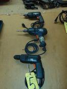 LOT OF ELECTRIC DRILLS, BLACK & DECKER (3), assorted