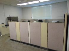 LOT OF OFFICE CUBICLES: total of (5) work stations & (2) printers