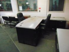 LOT CONSISTING OF: (2) L-shaped desks, file cabinet, mini refrigerator & (4) chairs