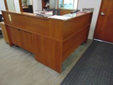 LOT CONSISTING OF: reception desk, bookcase & (6) assorted filed cabinets (no computer)