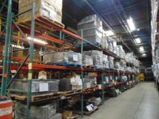 LOT CONTENTS OF PALLET RACKING SECTIONS (24) : assorted steel parts & cardboard (no racks)