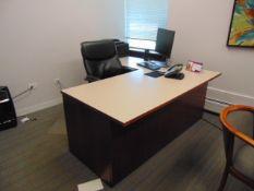 LOT CONSISTING OF: L-shaped desk, table, bookcase, file cabinet, mini refrigerator, flat screen tv &
