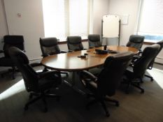 """LOT CONSISTING OF: 120"""" x 49"""" conference table, (9) chairs, (2) tables, Epson overhead projector &"""